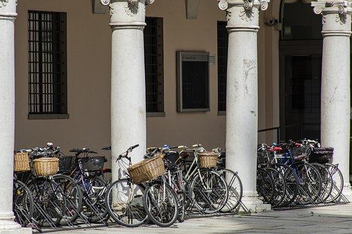 Bicycles, Arcade, Bicycle, Bike, Columns