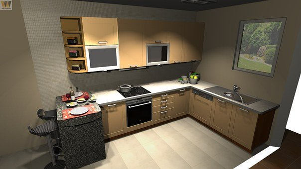 Kitchen, Design, Cad, Interior, Home, Counter, Cook