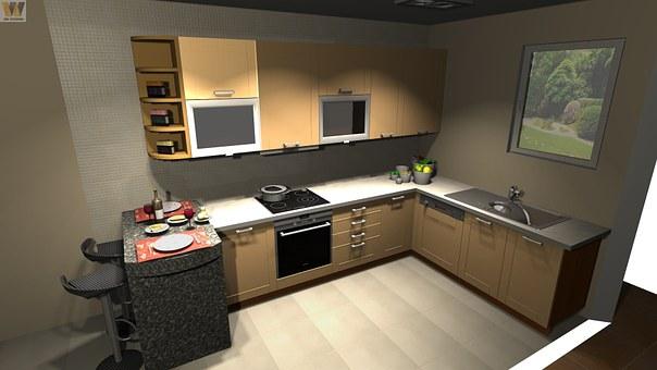 Kitchen, Design, Cad, Interior, Home