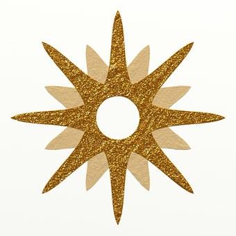 Star, Golden, Glittering, Yellow, Rays, White, Inside