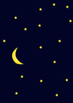 Starry, Night, Moon, Dark, Galaxy, Universe, Glow