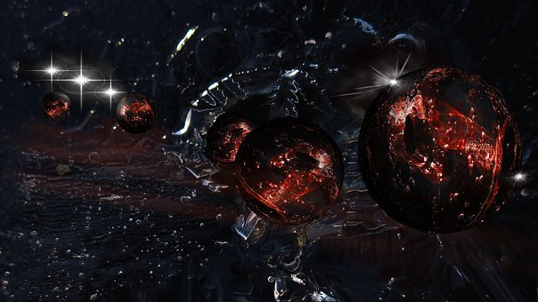 Balls, Ice, Red, Ice Landscape, Abstract, Fiction, Star