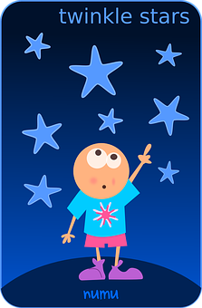 Boy, Stars, Pointing, Little, Star, Twinkle, Happy