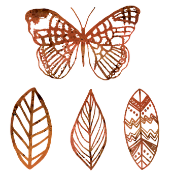 Butterfly, Leaf, Outline, Mandala, Syle, Grunge, Brown