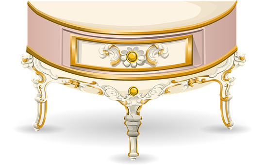 Table, Half Moon, Console, Furniture, Pink, Ornate