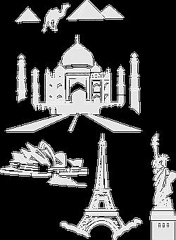 Landmarks, Taj Mahal, Eiffel Tower, Pyramids