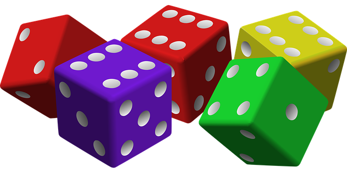Dice, Game, Luck, Gambling, Cubes, Red, Violet, Lilac