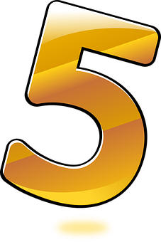 Five, Glossy, Gold, Keyword Pictures, Number, Numbers