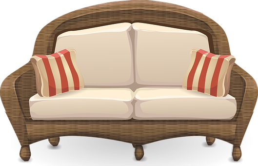 Couch, Sofa, Wicker, Loveseat, Seat, Seating