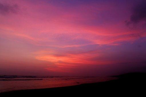 Purple, Sky, Beach, Sunset, Sunrise