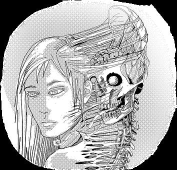 Skeleton, Man, Manga, Cartoon, Bw, Details, Living Dead