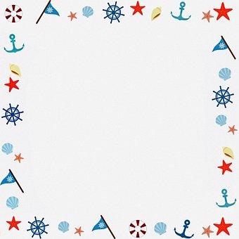 Digital Paper, Nautical Frame, Frame, Vintage, Pattern