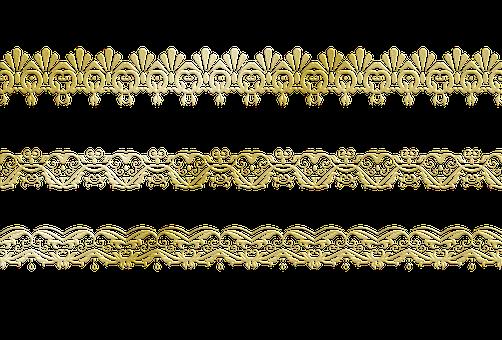 Gold Foil Lace Border, Borders, Lace, Nouveau