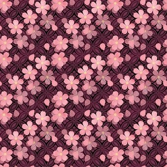 Cherry Blossoms, Japanese Style, Pink, Black, Purple