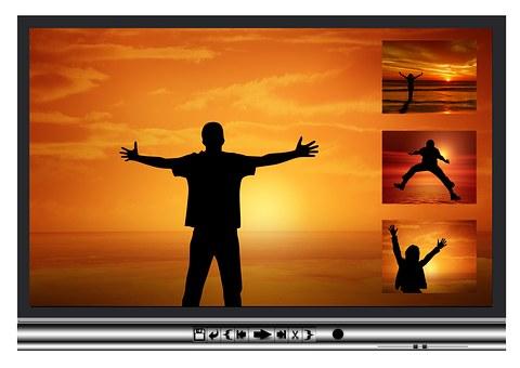 Silhouette, Man, Hug, Joy, Sunset, Film Editing