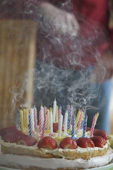 Birthday Cake, Blown Out, Candles, Birthday Candles