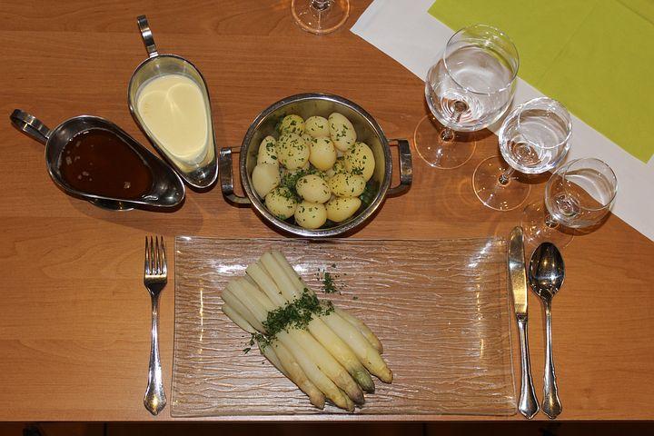 Asparagus, Asparagus Dish, Potatoes, Butter