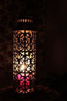 Lantern, Illuminated Lantern, Candle, Red Candle