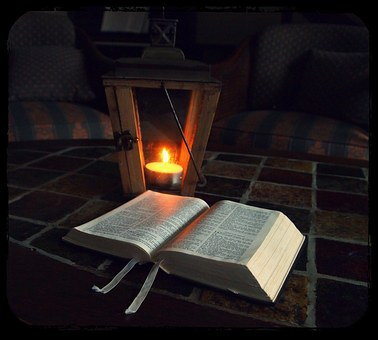 Bible, Bible Reading, Lantern, Lamp, Candle, Dim