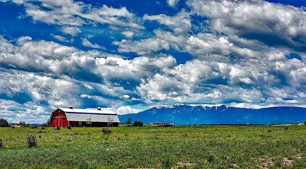 Colorado, Ranch, Farm, Barn, Sky, Clouds, Meadow, Field