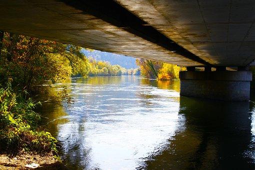 Bridge, River, Mur, Graz, Water, Waters, Fluent