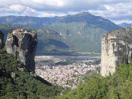 Meteora, Greece, Mo, Monastery, Mountain