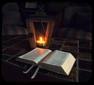Bible, Bible Reading, Lantern, Lamp, Candle, Dim