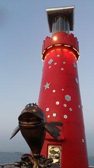 Korea, West Sea, Sunset, Breakwater, Sea, Lighthouse