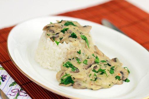 Food, Mushroom, Rice, Mushroom Sauce, Mushroom Stew