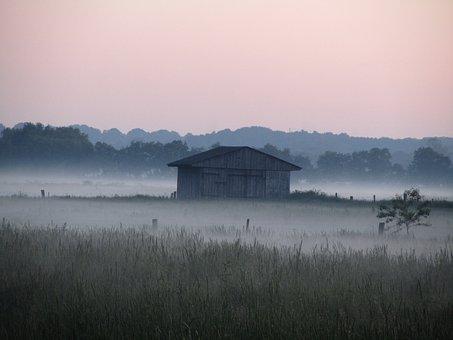 Pastel, Hut, Pasture, Log Cabin, Field Barn, Landscape