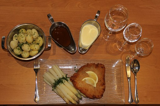 Asparagus, Asparagus Dish, Schnitzel, Potatoes, Butter