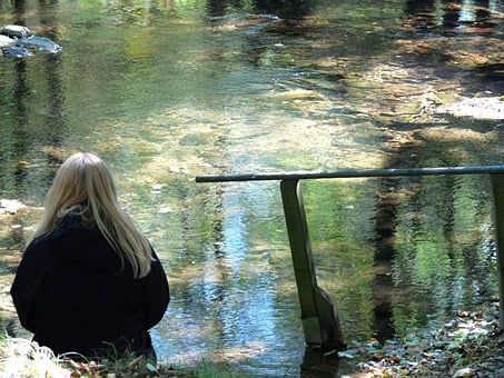 Water, River, Fluent, Rest, Woman, Blond, Silent