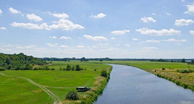 Trough, River, Bitterfeld, Meadow, Sky, Water, Nature
