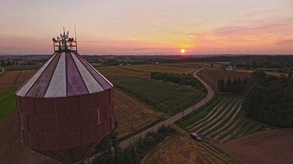 West, Village, Tower, Landscape, Sunset, Sky, Fields