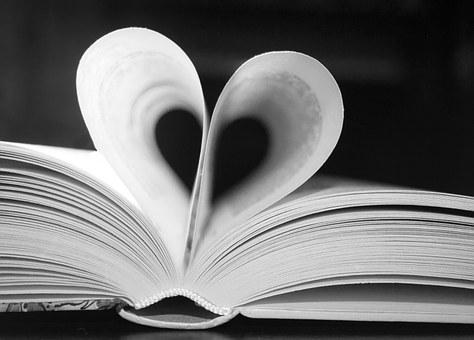 Book, Black, White, Heart, Love, Read, Pages, Luck