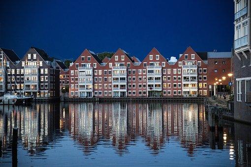 Netherlands, Hoorn, Houses, Water