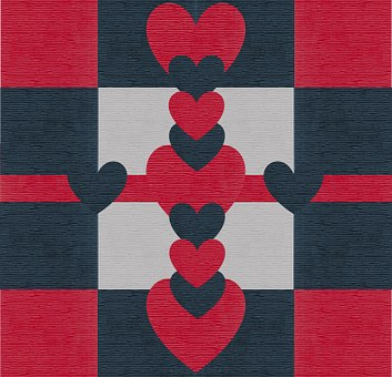 Valentine, Heart, Love, Leather, Design, Red, Navy