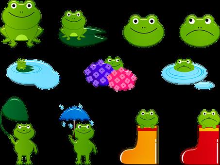 Frog, Kawaii, Rainy Season, Fantasy, Nice, Animals
