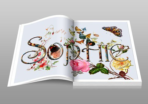 Sophie, Book, Open Book, Pages, Floral, Fantasy, Fairy