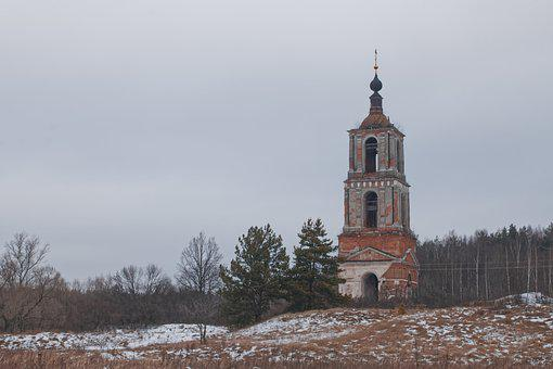 Winter, Field, The Ruins Of The, Church, Antiquity