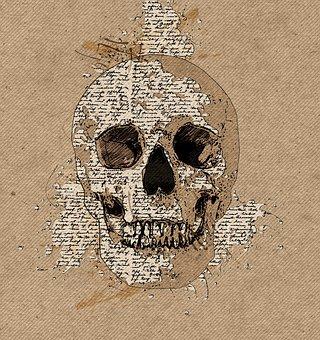 Skull, Sketch, Writing, Retro, Old, Art, Craft