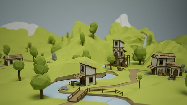 Village, Low Poly, Home, Rio, Houses, Design