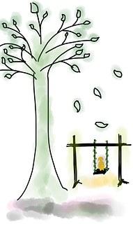 Tree, Swing, Leaves, Dog, Doggy, Fun, Fallen Leaves