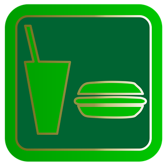 Fast Food, Food Court, Button, Symbol, Green, Web, Sign