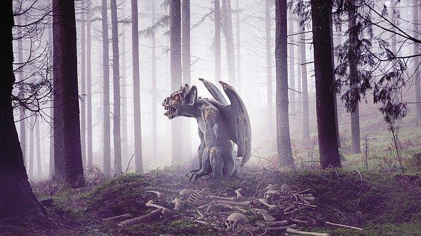 Statue, Gargoyle, Wings, Stone, Medieval, Gothic, Goth