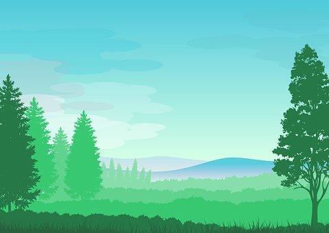 Illustration, Landscape, Background, Nature, Trees