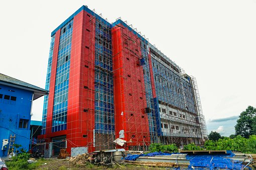 Campus, Building, Red, Blue