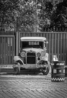 Ford, Oldtimer, Black And White