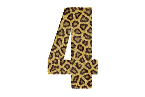 Four, Number, Pattern, Texture, Leopard, Text, 4