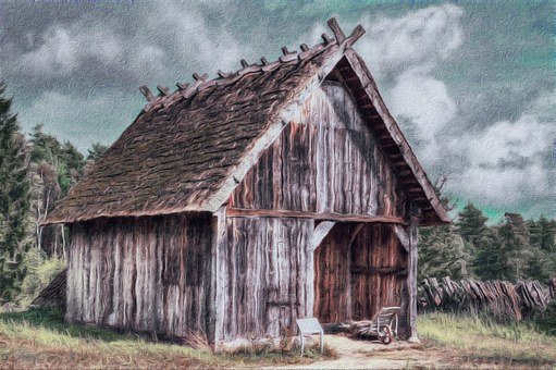 Shed, Picture, Landscape, Gimp, G'mic, Colorful